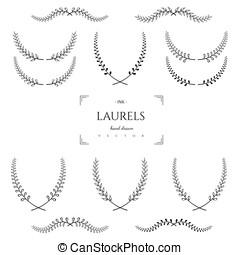 Hand drawn vector laurels. Design elements.