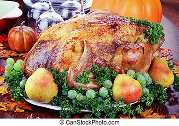 Festive Thanksgiving Dinner - Thanksgiving turkey with fresh...