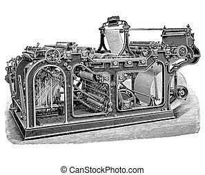 Rotary printing press machine, vintage engraving - Rotary...