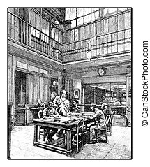 Editorial office, XIX century engraving