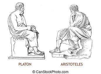 gravura, vindima,  platon,  aristoteles, estátuas