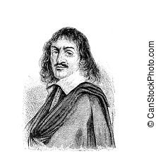 René Descartes French philosopher and scientist, vintage...