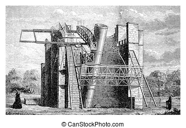 The Leviathan of Parsonstown or Lord Rosse 's monster telescope, vintage engraving
