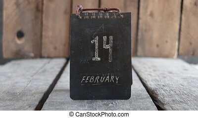February 14 vintage calendar. Valentine's Day idea. Retro...