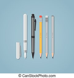 Pen and pencil - Set of office writing items. Black ball pen...