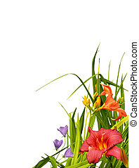 Floral border corner - Beautiful natural arrangement of...