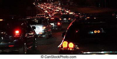 Rush hour at night.