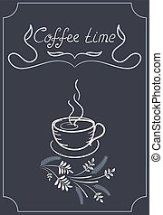 Design signboard for cafe with corner ornament, coffee cup...