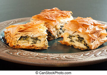 Home made spinach and feta pie. A popular Greek Cypriot dish...