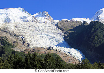 Glacier of Bossons and Mont-Blanc mountain, France