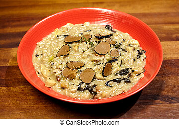 hongos, arroz, trufa,  whith