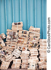 Stack of newspapers - Huge stack of newspapers in the...