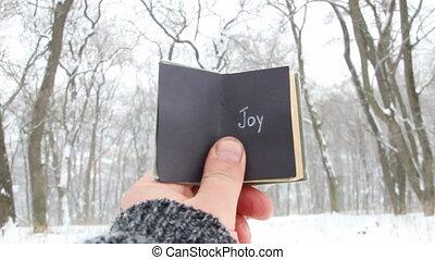 Joy, winter or happy holidays idea. Vintage book with inscription