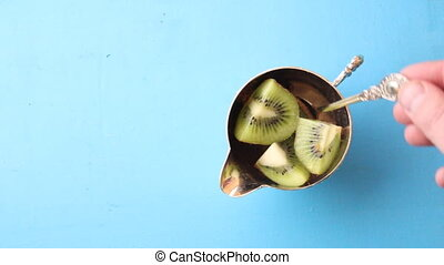 Food background with Kiwi fruit . Top view Copy space. -...
