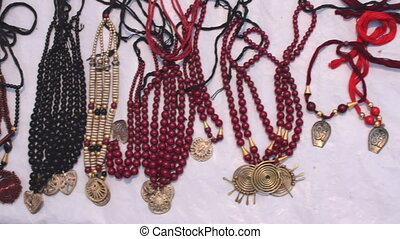 Necklaces, handicraft items on display , Kolkata -...