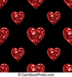 Conversational Floral Hearts Seamless Pattern -...