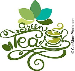 Lettering - Green Tea - good for label, logo, menu...
