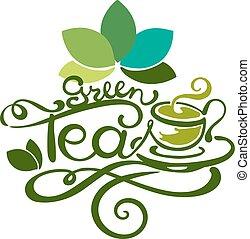 Lettering - Green Tea - good for label, logo, menu...