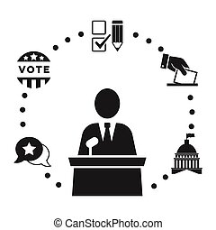 Election icons collection - Speaker or candidate pictogram...