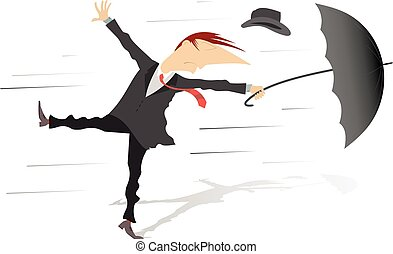 Windy weather - Man, his hat and umbrella are gone by the...