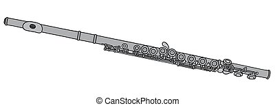 Classic metal flute - Hand drawing of a classic flute