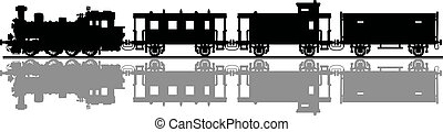 Vintage steam train - Hand drawing of a black silhouette of...