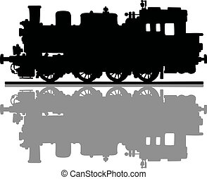 Vintage steam locomotive - Hand drawing of a black...