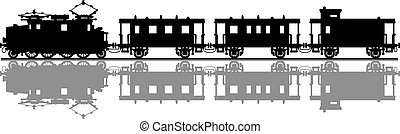 Vintage electric train - Hand drawing of a black silhouette...