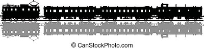 Classic electric train - Hand drawing of a black silhouette...