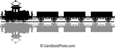 Old electric train - Hand drawing of a black silhouette of a...