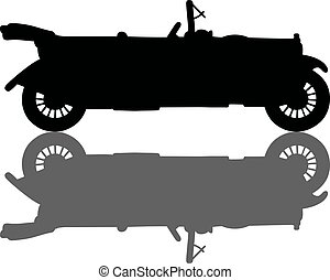 Vintage black cabriolet - Hand drawing of a black silhouette...