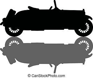Vintage small cabriolet - Hand drawing of a black silhouette...