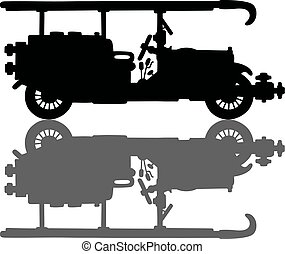 Vintage black firetruck - Hand drawing of a black silhouette...