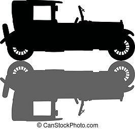 Vintage black limousine - Hand drawing of a black silhouette...