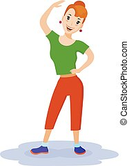 Healthy lifestyle of woman, who made fitness exercise....