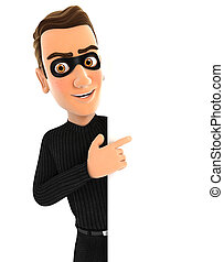 3d thief pointing to right blank wall, illustration with...