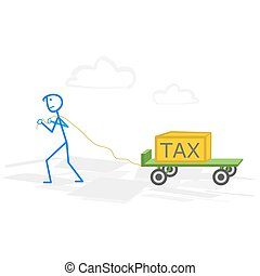 Taxes - A man with hand truck with taxes. Tax time and...