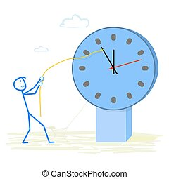 Time - Abstract businessman holding back time
