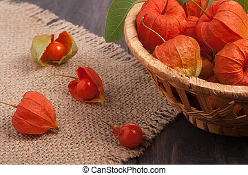 physalis in a wicker basket on the table