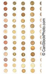 Euro coin money - vertical - Euro coins including both the...