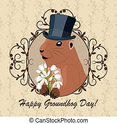 Groundhog day greeting card with cute marmot in black hat...