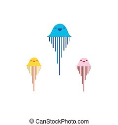Vector jellyfish sign on a white background