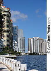 Buildings on Biscayne Bay - View of buildings facing the Bay...