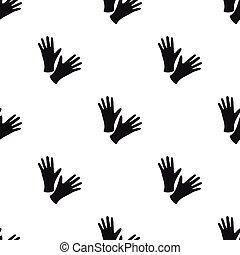 Black protective rubber gloves icon black. Single tattoo...