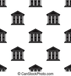 Theatre building icon in black style isolated on white...