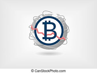 Bitcoin currency decline concept as vector illustration