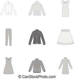 Clothes set icons in monochrome style. Big collection of...