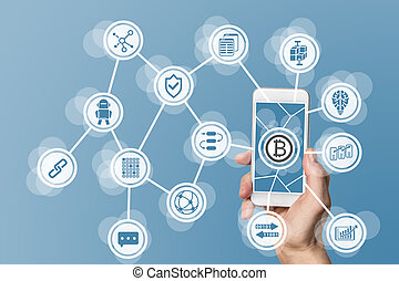 Blockchain and bitcoin concept visualized by mobile phone...