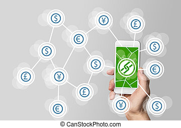 Mobile payment and crypto currency like bitcoin using block...