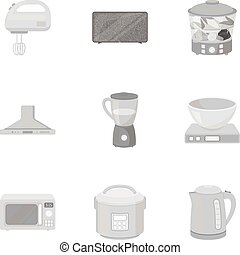 Household appliances set icons in monochrome style. Big collection of household appliances vector symbol stock illustration
